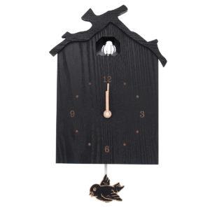 Antique Wall Cuckoo Clock Black DIY Home Christmas Holiday Gift Presents Retro Minimalist Creative Pendulum
