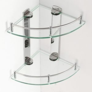 2 Layers Glass Bathroom Corner Shelf Wall Mounted Storage Large Capacity Organizer Storage Baskets