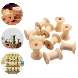 10Pcs Vintage Style Wooden Bobbins Spools Reels For Sewing Ribbons Twine Crafts