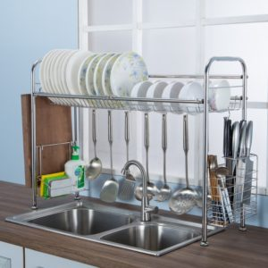 64/74/84cm Double Layer Stainless Steel Rack Shelf Storage for Kitchen Dishes Arrangement