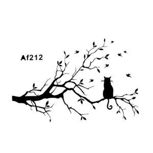 Modern Cat Tree Branches Wall Sticker Sofa Restaurant Wall Decor PVC Removable