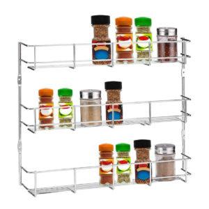 3 Tiers Kitchen Spice Rack Cabinet Wall Mount Storage Shelf Pantry Holder Kitchen Storage Rack