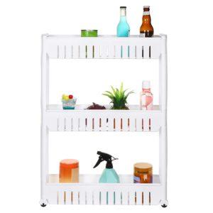 3/4 Layers Multi-function Rack Shelf Portable Cart Storage for Kitchen Bathroom Arrangement