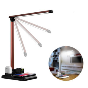 4 in 1 Folding Desk Lamp with Fast Wireless Charger Touch Dimming for Cellphone