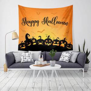 LWG6 Halloween Tapestry Pumpkin Print Hanging Tapestry Wall Art Home Decor Halloween Decorations For Home
