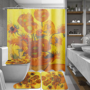 180x180cm Sunflower Bath Fabric Shower Curtains Waterproof Lid Toilet Cover Mat