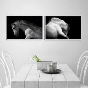 Miico LKKK Hand Painted Combination Decorative Paintings Black And White Horse Wall Art For Home Decoration