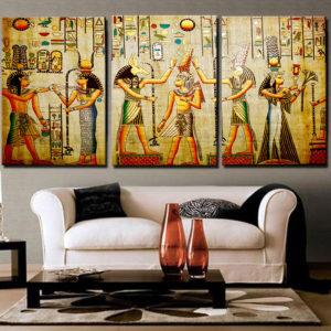 Miico handmålade dekorationsmålningar med tre kombinationer Cleopatra Portrait Wall Art för heminredning