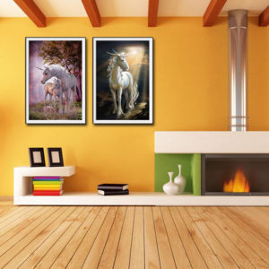 Miico Hand Painted Combination Decorative Paintings Dream Word Horse Wall Art For Home Decoration