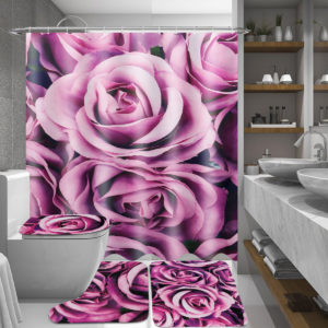 180x180cm Purple Rose Bathroom Shower Curtains With Hook + Toilet Mat + Rug