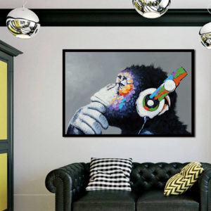 40*30cm Miico Hand Painted Oil Paintings Colorful Gorilla Paintings Wall Art For Home Decoration