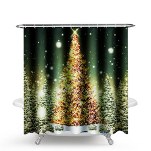 1.8M Christmas Waterproof Bathroom Shower Curtain Gold Xmas Tree Decor 12 Hook
