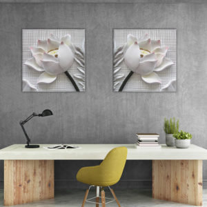 Miico Hand Painted Combination Decorative Paintings Embossed lotus Wall Art For Home Decoration