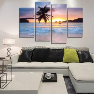 Miico handmålade dekorationsmålningar med fyra kombinationer Seaside Coconut Tree Wall Art för heminredning