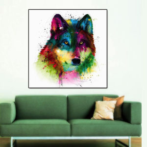 Miico Hand Painted Oil Paintings Abstract Colorful Wolf Head Wall Art For Home Decoration Painting