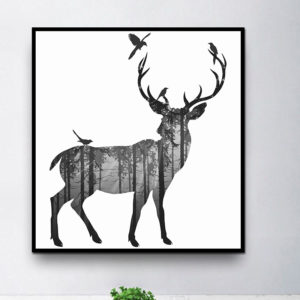 Miico Hand Painted Oil PaintingsSimple Style-CSide Face DeerWall Art For Home Decoration Paintings