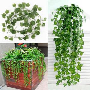 2 m konstgjord murgröna sötpotatis gröna blad garland hem trädgård dekoration