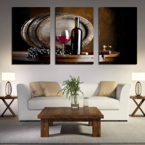 Miico Hand Painted Three Combination Decorative Paintings Red W-ine Wall Art For Home Decoration