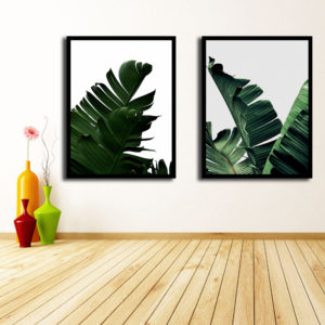 Miico Hand Painted Combination Decorative Paintings Botanic Leaves Paintings Wall Art For Home Decoration
