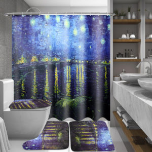 180x180cm Rhone River Night Bathroom Shower Curtains Lid Toilet Cover Mat Rug Set