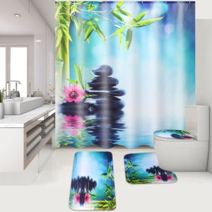 180x180cm Stone Bamboo Water With 12 Hooks Bathroom Shower Curtain Toliet Mat