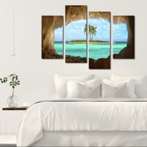 Miico Hand Painted Four Combination Decorative Paintings Isolated Island Wall Art For Home Decoration
