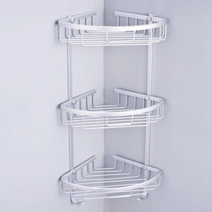 1/2/3 Layers Aluminium Wall Mounted Bathroom Corner Shower Caddies Storage Shelf Rack Holder