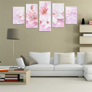5PCS Lilies Frameless Modern Canvas Painting Mural Wall Picture Paintings Home Decoration