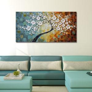 Handmålade oljemålningar Blommor Moderna sträckta kanfas väggkonst för målningar för heminredning