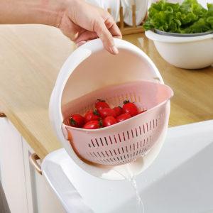 Dubbelskikt Rund avloppskorgsfäste för tvättning av fruktgrönsakskorg