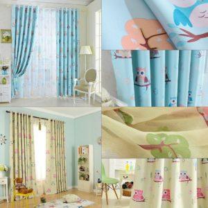 2st 100 * 250cm hög skugggardin uggla tecknad gardiner fönsterhals draperier vardagsrum barn barn sovrum studie