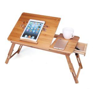 Bärbar hopfällbar skrivbord Bambu Bärbar dator Frukostbricka Sängbordstativfläkt