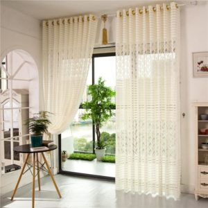 2 Panel Jacquard Lace Sheer Tulle Curtains Bedroom Living Room Hollow Out Window Screening