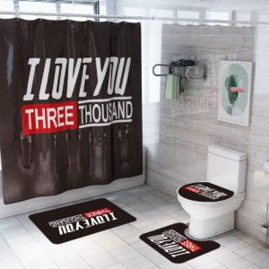 4/3/1PCS English Letter Waterproof Bathroom Shower Curtain Set Skidproof Bath Rug Toilet Lid Cover Bath Mat Set for Bathroom Decor