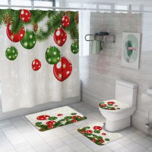 Jul dekorativ ballong badrumsmatta duschdraperi Skidproof toalett lock täcka badmatta matta Set
