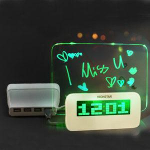 HIGHSTAR Model B Fluorescent Message Board Alarm Clock Memo Calendar Thermometer Light
