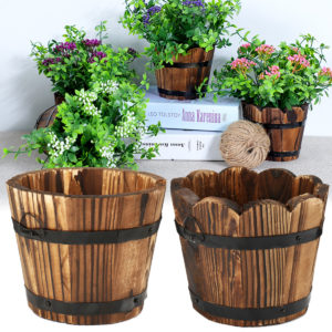 Wooden Round Waves Barrel Planter Flower Pot Home Office Garden Wedding Decor