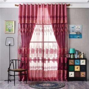 2Pcs 250cmx100cm Luxurious Jacquard Voile Door Curtain Window Room Curtains Home Fashion Decor