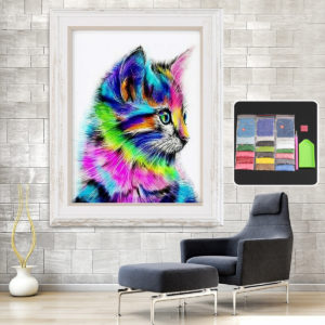 Colorful Cat Full Drill DIY 5D Diamond Embroidery Painting Craft Home Decorations