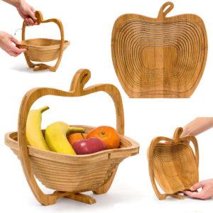 Hopfällbar äppleformad bambukorg Kök Fruktförvaring Centerpiece dekorationer