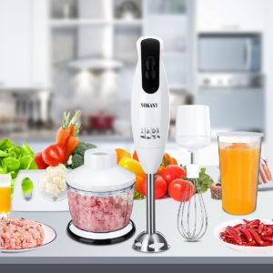 600W bärbar elektrisk mixerpiskvisppressmixer handhållen grönsakskvarn mathackare