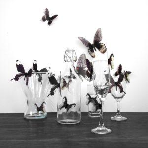 18st 3D Transparent Fjäril Väggdekaler PVC European American Style Color Paste Decor