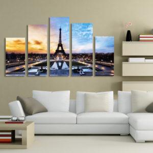 Paris Eiffel Tower Paintings Art 5 Pcs Print Picture Home Room Decor No Framed