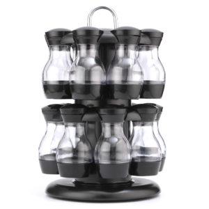 16 Jar Rotating Spice Rack Carousel Kitchen Storage Holder Condiments