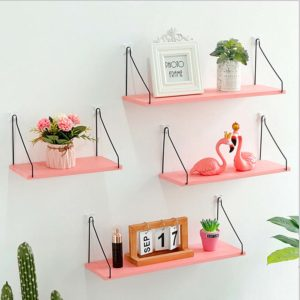 Pink Household Wooden Hanging Holder Wall Mount Rack Creative Home Hooks