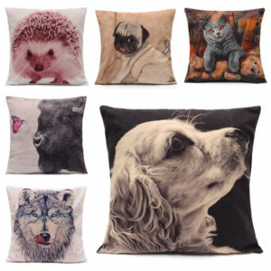 Vivid 3D Animal Short Plush Throw Pillow Case Home Sofa Car Cushion Cover
