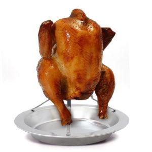 Rostfritt stål Non-Stick Upprätt Kyckling Turkiet Roaster Fjäderfä Grillställ
