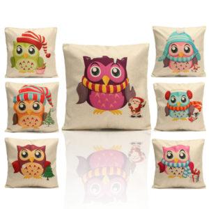 Christmas Cute Owl Series Throw Pillow Case Square Cushion Cover Home Sofa Decoration