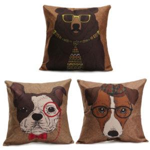 Cartoon Dog Cotton Linen Pillow Case Sofa Waist Throw Cushion Cover Home Decor