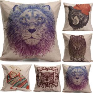 Animal World bomullslinne örngott fall midja kuddfodral hem soffa dekor